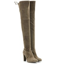 Stuart Weitzman Mytheresa.Com Exclusive Highland Suede Over The Knee Boots Green