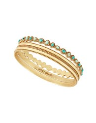 Lucky Brand Tropical Turquoise Semi Precious Reconstituted Calcite Beaded Bangle Bracelet Gold