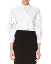 Carolina Herrera Poplin Blouse W Laser Cut Balloon Sleeves White