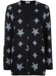 Saint Laurent Star Print Oversized Cardigan Black