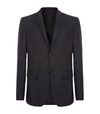 Versace Collection Leather Trim Blazer Male