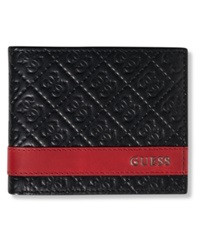 Guess Mesa Id Bifold Wallet Black W Red
