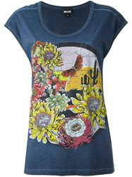 Just Cavalli Floral Print T Shirt Blue