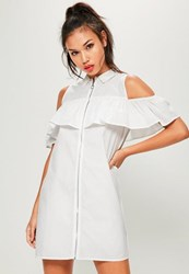 Missguided White Ruffle Front Zip Dress