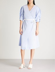 Moandco. Ruched Sleeve Cotton Blend Wrap Dress Kentucky Blue