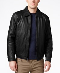 Nautica Men's Big And Tall Point Collar Leather Jacket Black