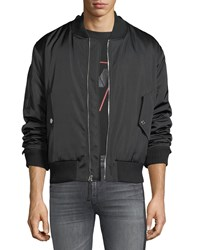7 For All Mankind Zip Front Military Style Bomber Jacket Black