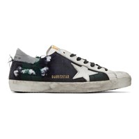 Golden Goose Green And Black Check Superstar Sneakers