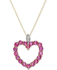 Macy's Ruby 1 3 4 Ct. T.W. And Diamond Accent Heart Pendant Necklace In 14K Gold Red