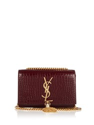 Saint Laurent Kate Small Crocodile Effect Leather Shoulder Bag Burgundy