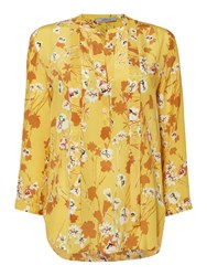 Marella Padre Long Sleeve Floral Silk Blouse Yellow