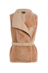 Salvatore Ferragamo Lambskin And Shearling Vest Beige