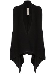 Rick Owens Draped Side Knitted Cardigan Black