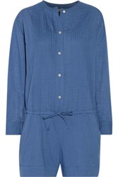 Etoile Isabel Marant Rodney Pintucked Cotton Broadcloth Playsuit Blue