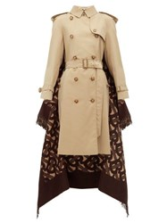 Burberry Tb Wool Blend And Cotton Trench Coat Beige