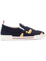 Thom Browne Duck Embroidered Navy Slip On Trainer 60