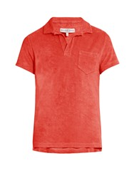 Orlebar Brown Terry Towelling Cotton Polo Shirt Red