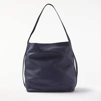John Lewis Kin By Helen Leather North South Tote Bag Navy