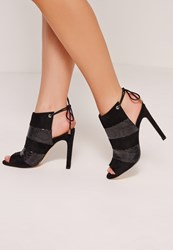 Missguided Peep Toe Lace Back Ankle Boots Black Black