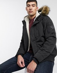 Hollister All Weather Faux Fur Lined Hooded Bomber In Black