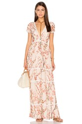 Lucca Couture Deep V Maxi Dress Tan