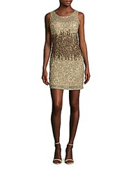 Adrianna Papell Sleeveless Sequined Sheath Dress Champagne