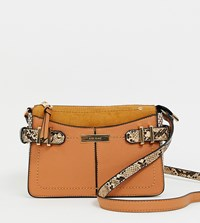 River Island Across Body Bag With Buckle Details In Tan