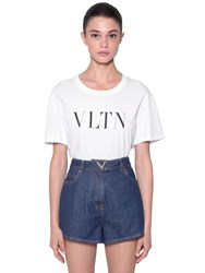 Valentino Logo Printed Cotton Jersey T Shirt White