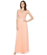 Adrianna Papell Sleeveless Bead Gown With Shear Waistband Coral Reef Women's Dress Red