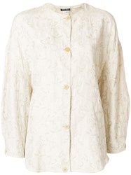 Giorgio Armani Vintage Floral Pattern Loose Jacket Nude And Neutrals