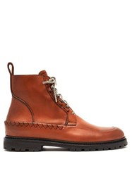 Bottega Veneta Lace Up Leather Boots Brown