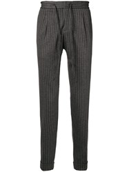 Paolo Pecora Pinstripe Tapered Trousers Grey