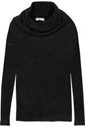 Joie Mildred Sequin Embellished Draped Open Knit Sweater Black