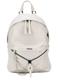 Diesel Coated Leather Patched Backpack White