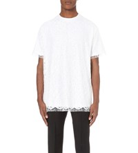 Givenchy Crewneck Lace And Cotton Jersey T Shirt White