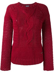 Woolrich Cable Knit Jumper Red