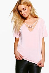 Boohoo Angelina Super Slinky Cross Front T Shirt Pale Pink