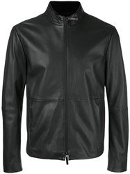 Armani Collezioni Zipped Leather Jacket Black