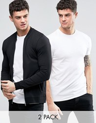 Asos Muscle Jersey Bomber Jacket Muscle T Shirt 2 Pack Black White Black White Multi