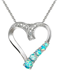 Lord And Taylor Opal And Sterling Silver Heart Pendant Necklace Blue