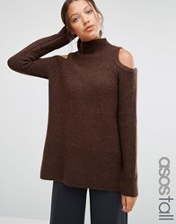 Asos Tall Jumper In Rib With Cold Shoulder Chocolate Brown