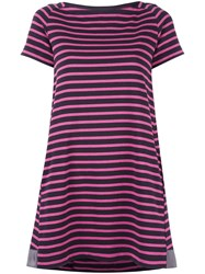 Sacai Striped A Line Dress Pink Purple