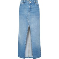 River Island Womens Light Blue Wash Maxi Denim Skirt