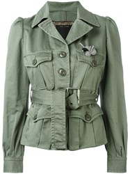Marc Jacobs Sateen Belted Jacket Green