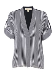 Michael Kors Longsleeve Striped Blouse Top White