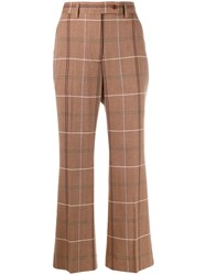 Acne Studios Flared Crop Trousers Brown