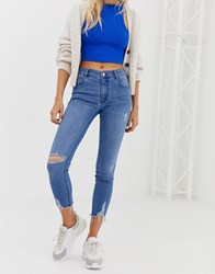 Pull And Bear Ripped Capri Jeans In Blue Blue