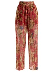 Zimmermann Melody Floral Print Silk Trousers Burgundy