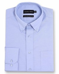 Double Two Men's Long Sleeved Non Iron Button Down Oxford Shirt Blue