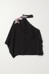 Costarellos One Shoulder Ruffled Embellished Crepe Top Black
